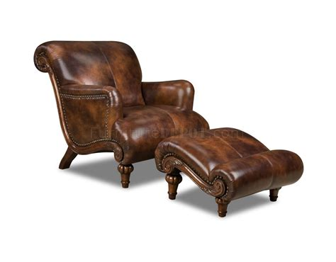 leather chairs and ottomans cognac brown top grain leather traditional chair ottoman