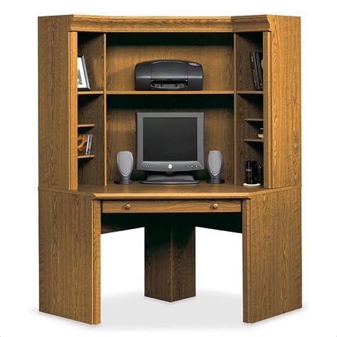small corner desk with hutch sauder orchard small corner wood hutch oak