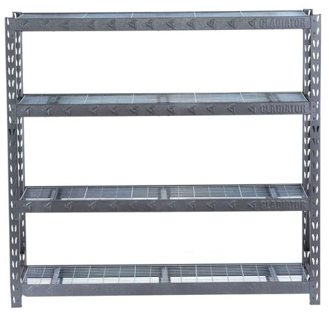 steel shelving units gladiator 73 in h x 77 in w x 24 in d 4 shelf welded
