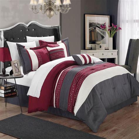 wine colored bedding sets carlton burgundy grey white king 6 comforter bed