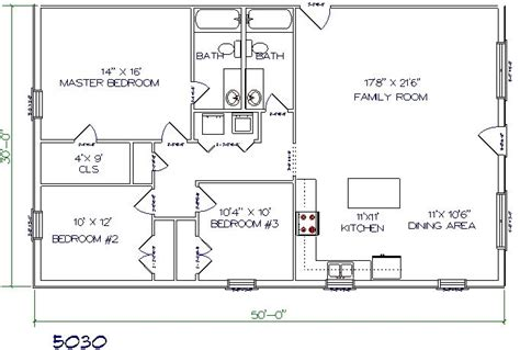 30x50 house floor plans barndominiums 3bed 2 bath 50 x30 1500 sq ft