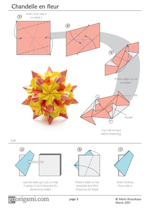 origami flower pdf chandelle kusudama by sinayskaya diagram go origami