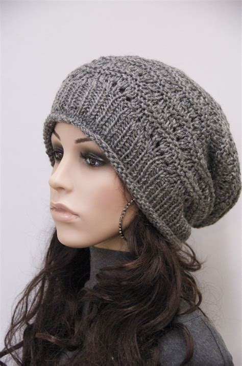 knitting hat knit hat charcoal chunky wool hat slouchy hatwool by maxmelody