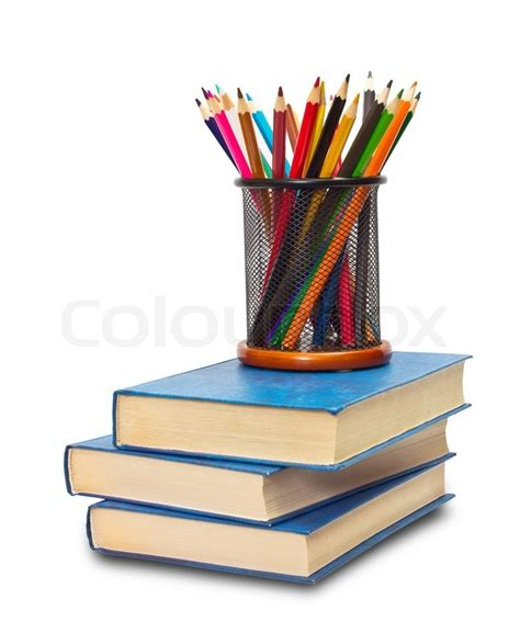 pictures of books and pencils book and pencil on white stock photo colourbox