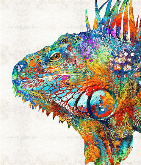 cool painting images colorful iguana one cool dude