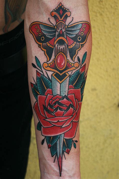 tattoos by stefan johnsson dagger rose