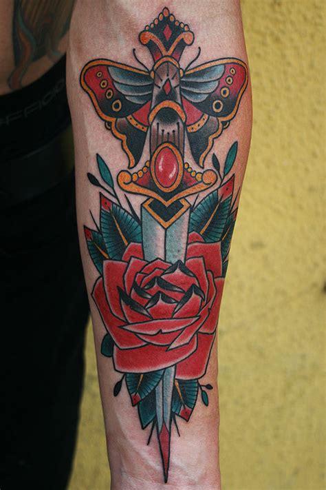 tattoos by stefan johnsson dagger rose