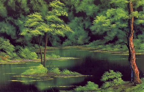 bob ross painting wallpaper 1920x1080 wallpaper picture trees shore the bushes painting bob