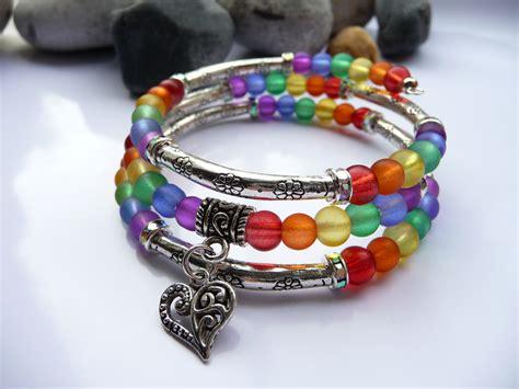 ideas for bracelets with rainbow memory wire bracelet jewelry fleur ideas