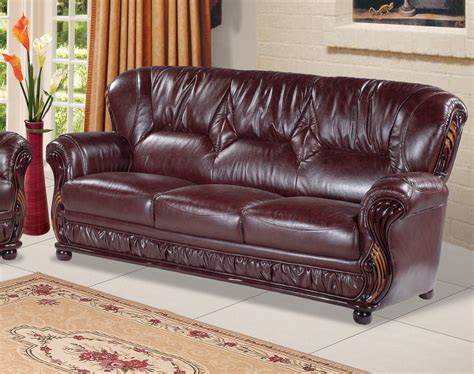 wood and leather sofas mina burgundy leather italian sofa with wood accents
