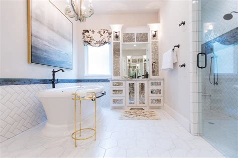 White Spa Bathroom by White Spa Bathroom With Gold Table Hgtv