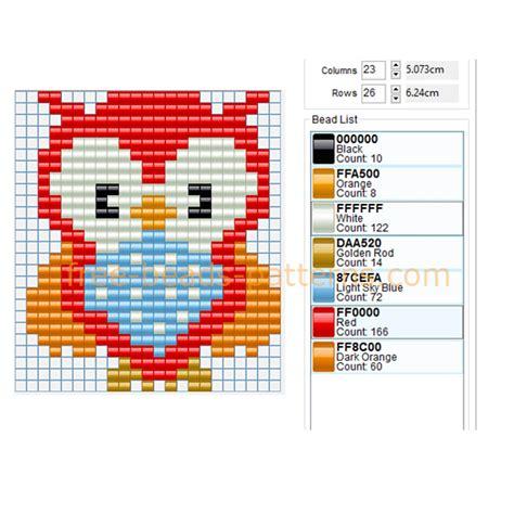 owl pony bead pattern colored owl bird free perler pattern baby toys idea
