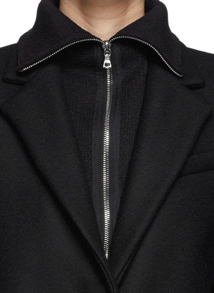 rib knit collar sandro mathilda rib knit collar wool coat in black lyst