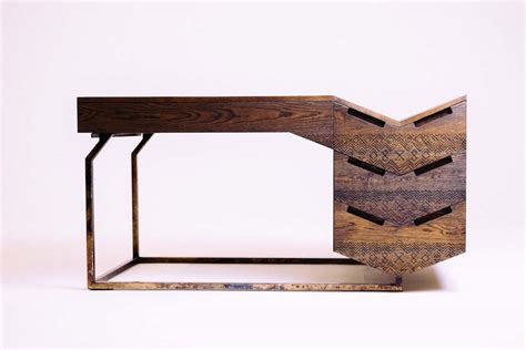 Zulu and Ndebele patterns on solid wood desks   Design Indaba
