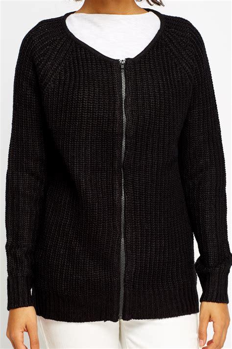 black knit sweater black zipped knit sweater just 163 5