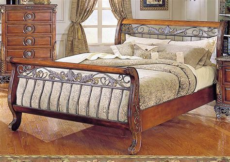 Sofa Bed Home Depot by Warm Cherry Finish Traditional Sleigh Bed W Iron Gold Tone