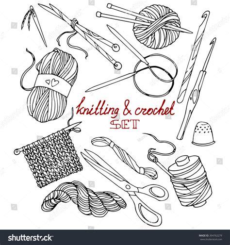knitting drawing knitting crochet set contour drawings handdrawn stock