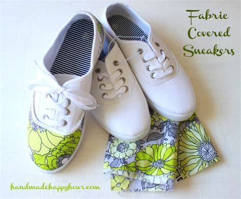 decoupage shoebox diy fabric covered sneakers with mod podge
