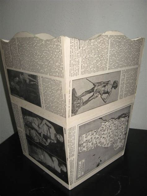 decoupage trash can upcycled decoupage trash can from vintage book pages
