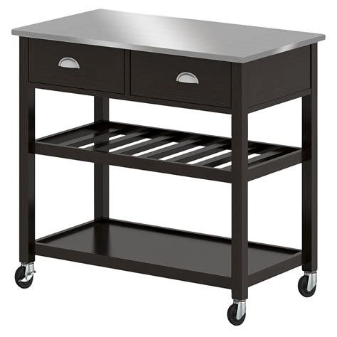 black kitchen island with stainless steel top upc 764053494307 threshold stainless steel top open kitchen island black upcitemdb