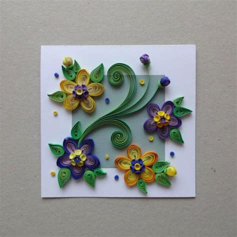 how to make paper flowers for greeting cards quilled paper handmade greeting card with 3d flowers by