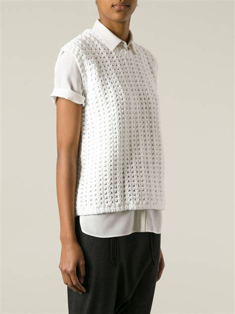knit vests balenciaga knit vest in white lyst