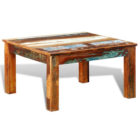 wood coffee tables reclaimed wood coffee table square antique style vidaxl