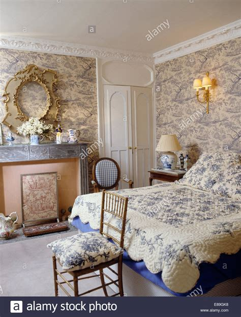 toile bedroom blue toile de jouy wallpaper in bedroom with blue floral