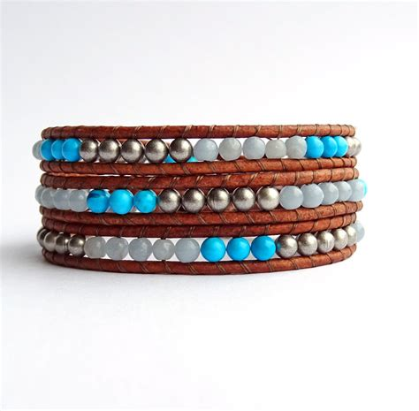 leather and bead bracelet beaded wrap bracelet leather and bead chalk turquoise blue