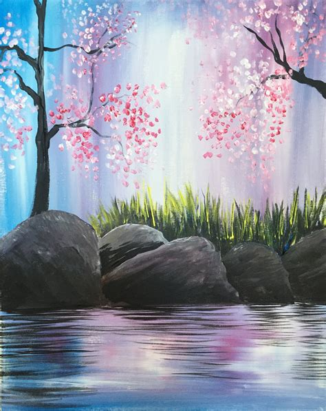 paint nite cherry blossoms on the rocks at cabbyshack paint nite events