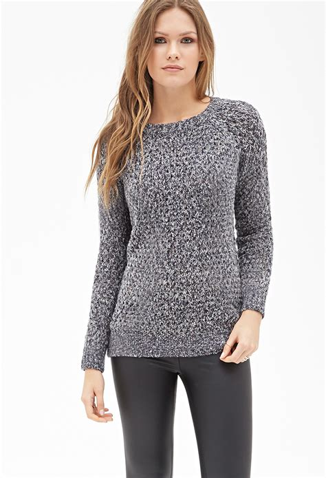 knitted sweaters forever 21 forever 21 marled open knit sweater in blue navy multi