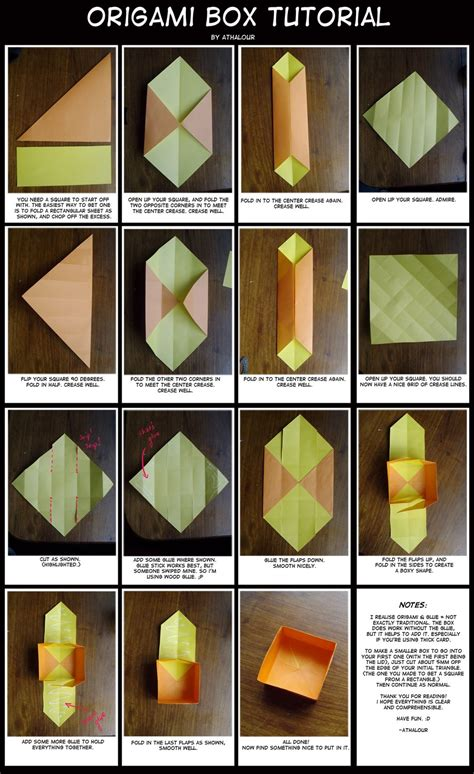 origami paper tutorial origami box tutorial by athalour on deviantart