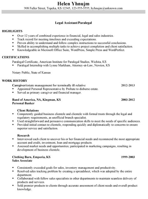 resume for a legal assistant paralegal susan ireland