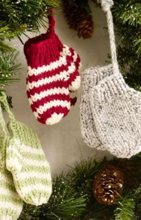 knitted ornaments patterns free knit mitten ornaments favecrafts
