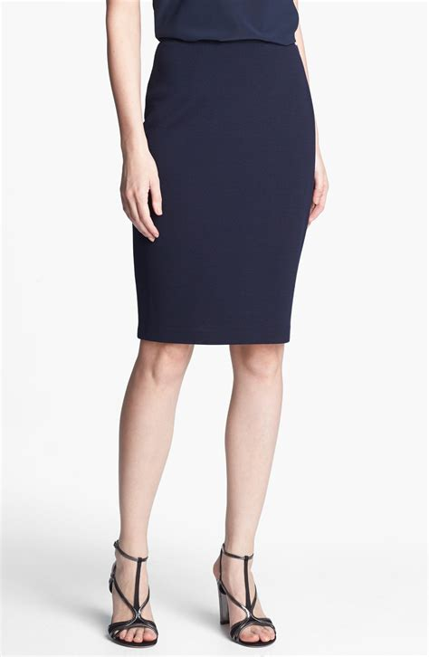 knit pencil skirts st knit pencil skirt in blue navy lyst