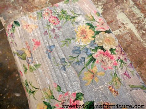 napkin decoupage on wood sweet pickins napkins on wood furniture painting ideas