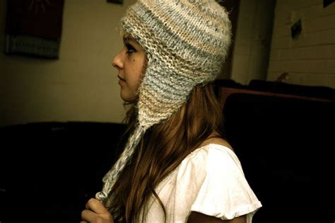 knit hat with ear flaps free patterns sensation quot hair quot yarn earflap hat knitting