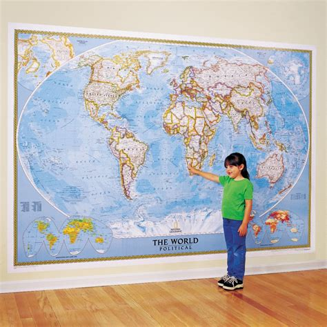World Wall Map Mural the world for kids wall map laminated national