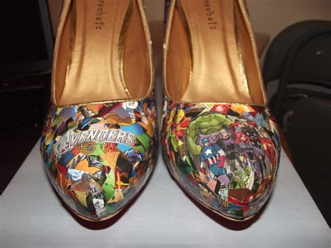 decoupage shoes with paper comic book heels 183 a pair of decoupage shoes