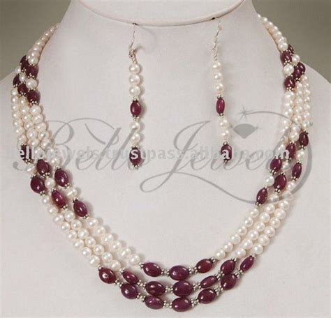 jewelry from home 3 strand designer pearls cabochon ruby necklace