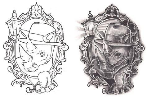freebies film noir rhino tattoo design by tattoosavage on