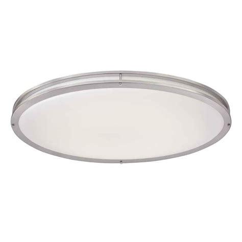 brushed nickel ceiling lights hton bay brushed nickel led oval flushmount dc032leda