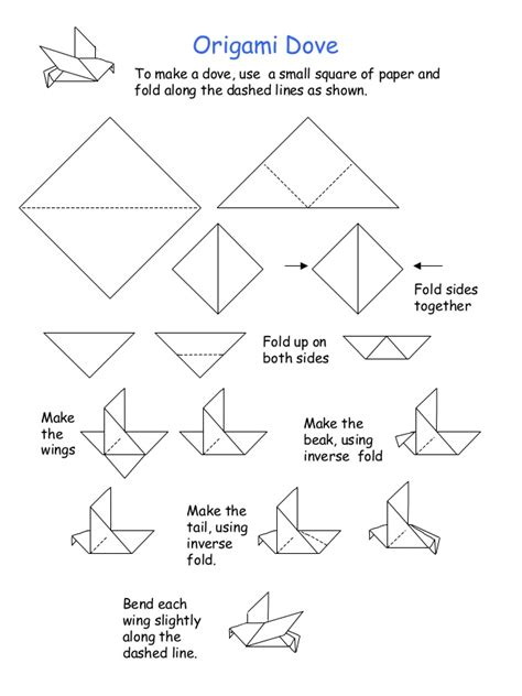 origami dove step by step free coloring pages origami dove to make a dove use a