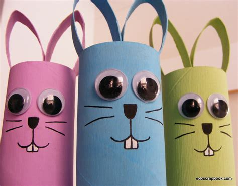 easter toilet paper roll crafts ecoscrapbook easter kid s craft toilet paper roll bunnies