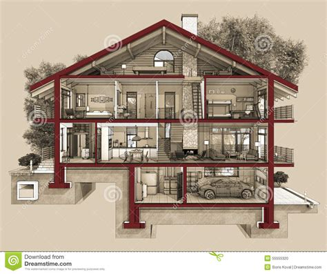 1 Bedroom Cottage Floor Plans 3d section of a country house stock illustration image