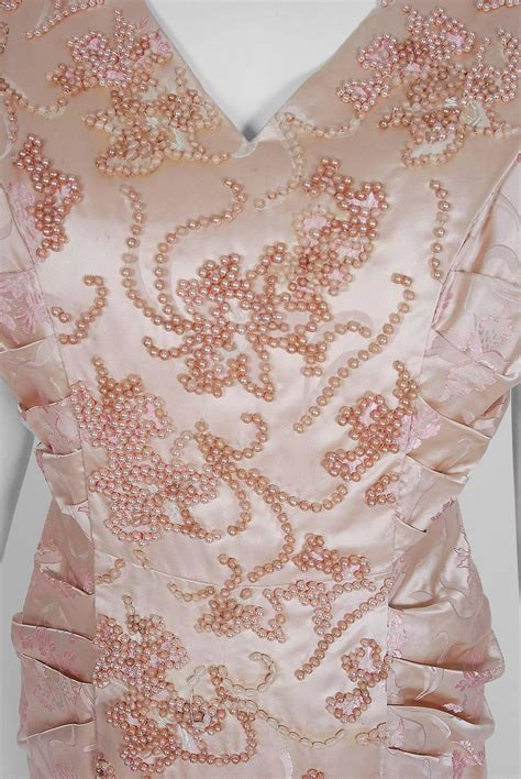 haute couture beading 1953 christian haute couture beaded chagne pink