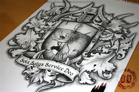family coat of arms tattoo design dark design graphics