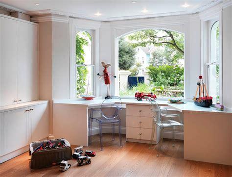 Window Treatment Ideas For Bow Windows bay window desk home office modern with acrylic armchair