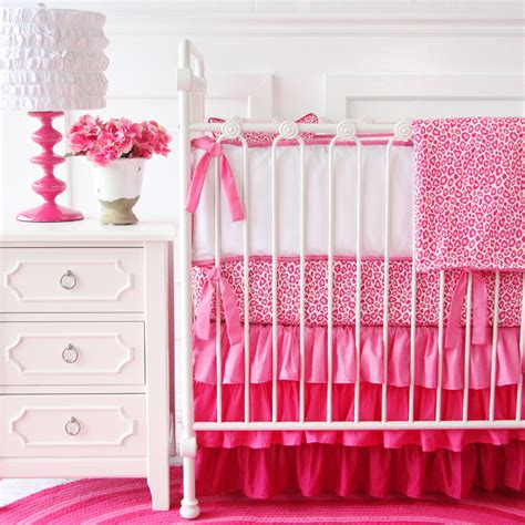 pink leopard crib bedding girly pink leopard ruffle crib bedding set by caden