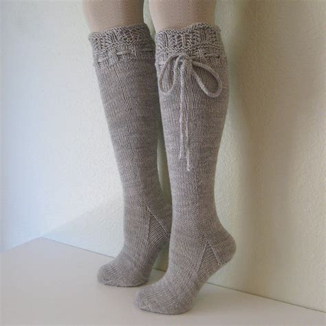 Knee High Socks Lace Dove Grey By Pinkcandystudio On Etsy